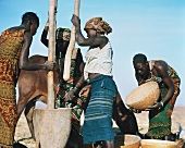 African women pounding maize
