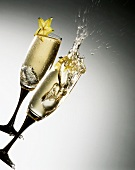 In party mood: two glasses of champagne