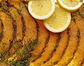 Graved Lachs with lemons and dill (close-up)