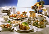 Buffet with fish and seafood dishes