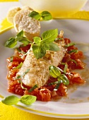Red mullet fillet with basil and tomatoes