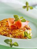 Potato and sauerkraut rosti with smoked salmon