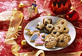 Plate of various Christmas biscuits