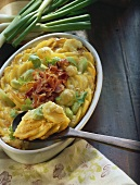 Potato and vegetable casserole with bacon