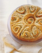 Apple rose cake (coiled bun round) with ginger