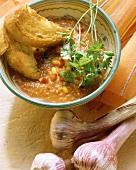 Gazpacho with garlic bread