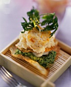 Sea Devil with Celery Puree in Square Wooden Dish