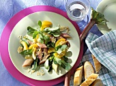 Rhubarb with apricots and corn salad