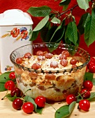 Quark bread pudding with cherries