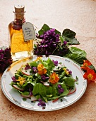 Mixed salad with violets and primroses; violet vinegar