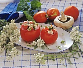 Tomatoes stuffed with mushrooms and yarrow