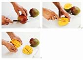 Cutting mango halves decoratively
