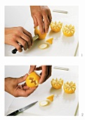 Cutting a lemon decoratively