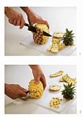 Ananas schälen und Augen entfernen