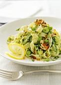 Tagliatelle orto e mare (Tagliatelle with scampi & vegetables)