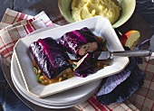 Red cabbage roulade on apple and onion sauce