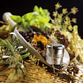 Dried flowers and herbs with a tea-ball