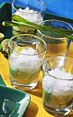 Three glasses of Caipirinha with crushed ice