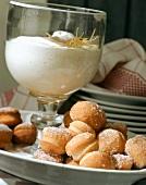 Two desserts: Berliner Luft & Berliner Pfannkuchen (doughnuts)