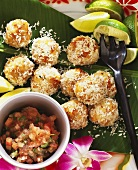 Fish balls with grated coconut