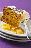 Carrot cake with apricot and apple sauce and ice cream