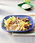 Macaroni with finely-chopped turkey and mushrooms
