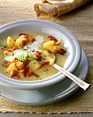 Potato and pepper soup with sour cream