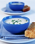 Cream of celery soup sprinkled with chives