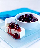 Cherry compote with yoghurt ice cream