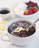 Chocolate souffle in a cup