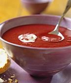 Tomato soup with crème fraiche