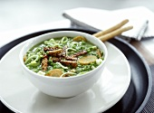 Pea soup with tempeh (fermented soya bean product)