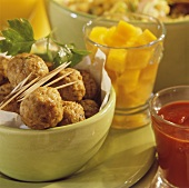 Meatballs, with tomato ketchup and sweet and sour pumpkin