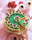 Woodruff and champagne gateau with raspberries