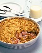 Rhubarb crumble in baking dish