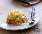 Apple crumble with custard