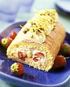 Sponge roll with strawberry and nectarine cream