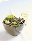 Salade nicoise in a small bowl