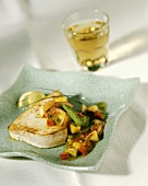 Grilled sword fish fillet with mango chutney