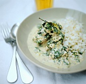 Finely chopped veal and spinach with rice