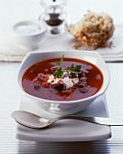 Bean goulash in soup bowl