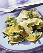 Ravioli con la rucola (Rocket ravioli with Parmesan)
