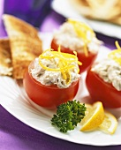 Tomatoes stuffed with fish puree