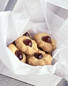 Almond and cherry biscuits in gift box