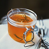 Rosemary jelly in a preserving jar