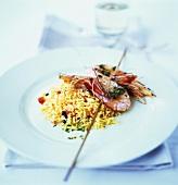 Prawn kebab on rice