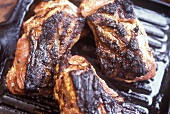 Grilled steaks in the grill pan