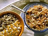 Carrot and apple muesli and oat muesli with apricot quark