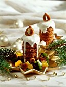 Fancies in shape of candles, with candied fruit