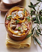 Macaroni bake with mortadella and mushrooms